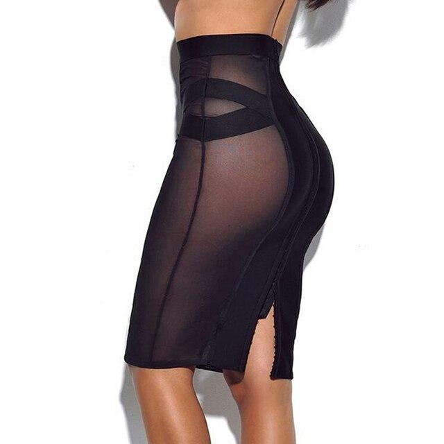 revendeur 593d8 39df3 € 27.84 |2018 Nouveautés Femmes Sexy Bandage Jupe Maille Voir À Travers la  Mode Jupes Bonne Élastique Moulante Dropshipping MD776 dans Jupes de ...