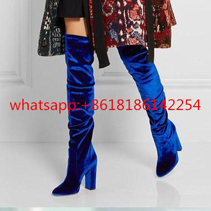 New Arrivals Autumn/Winter Over Knee Boots Women Thin Elastic Velvet Boots High-heeled Female Boots Warm Bottes Femmes 2016