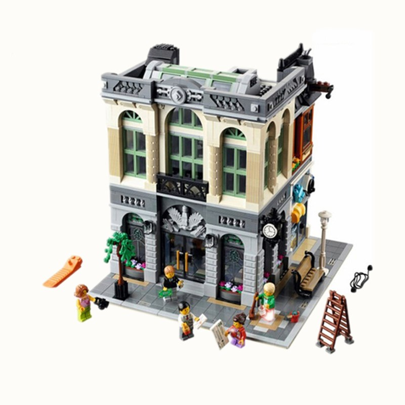 2413pcs Diy In Stock Bank Model Educational Building KidsBuilding Blocks Compatible With Legoingly Bricks Toys Gift For Children стикеры для стен listed in stock diy ms361257
