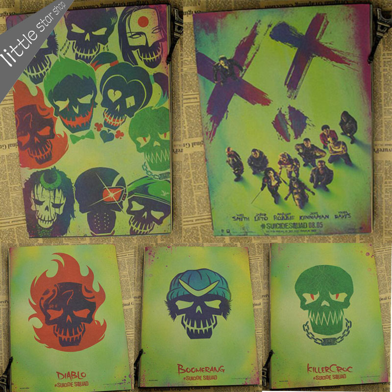 Home Decor Retro Kraft Paper Suicide Squad Dc Comics Movie Game Posters Bar Wall Picture For