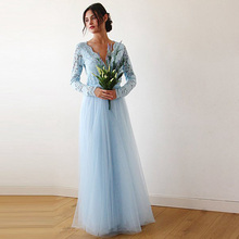 Eightree 2019 Blue Bohemian Beach Wedding Dress Long Sleeve V-Neck Boho Bridal Country Hippie Dresses  Lace Tulle