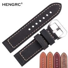 Handmade Genuien Leather Watch Band Strap 22mm 24mm Men Women Bronw Black Red Retro Cowhide Watchband Blet Silver Buckle