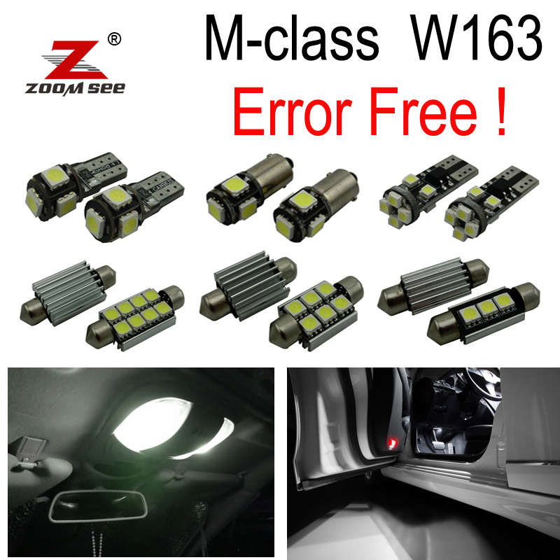 15pcs Error free LED Lamp Interior Light Kit For Mercedes For Mercedes-Benz M class W163 ML320 ML350 ML430 ML500 ML55 AMG 98-05 27pcs led interior dome lamp full kit parking city bulb for mercedes benz cls w219 c219 cls280 cls300 cls350 cls550 cls55amg
