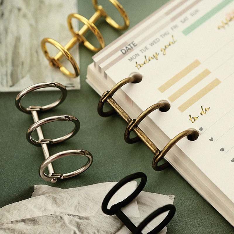 4cmx2.5cmx2.5cm 4 Colors Black/Brown/Gold/Silver DIY Metal Clip 3 Holes Ring For Notebook Loose Leaf Diary Photo Album Binding