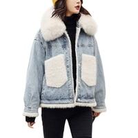denim fur jackets winter coat women 2018 Real Fox Fur collar Loose Flocking WOmen's Jacket Thick Warm Pockets Jeans Coat Outwear
