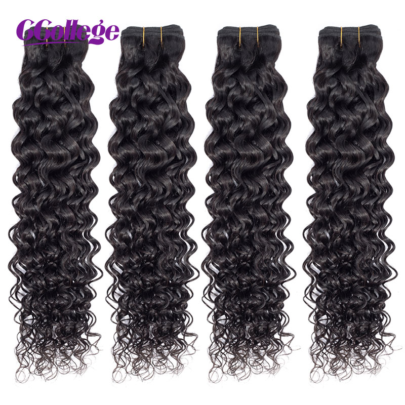 CCollege Hair Brazilian Water Wave Bundles Remy Human Hair Weave Bundles 8-26inch Natural Color Hair Extensions Can Be Bleached