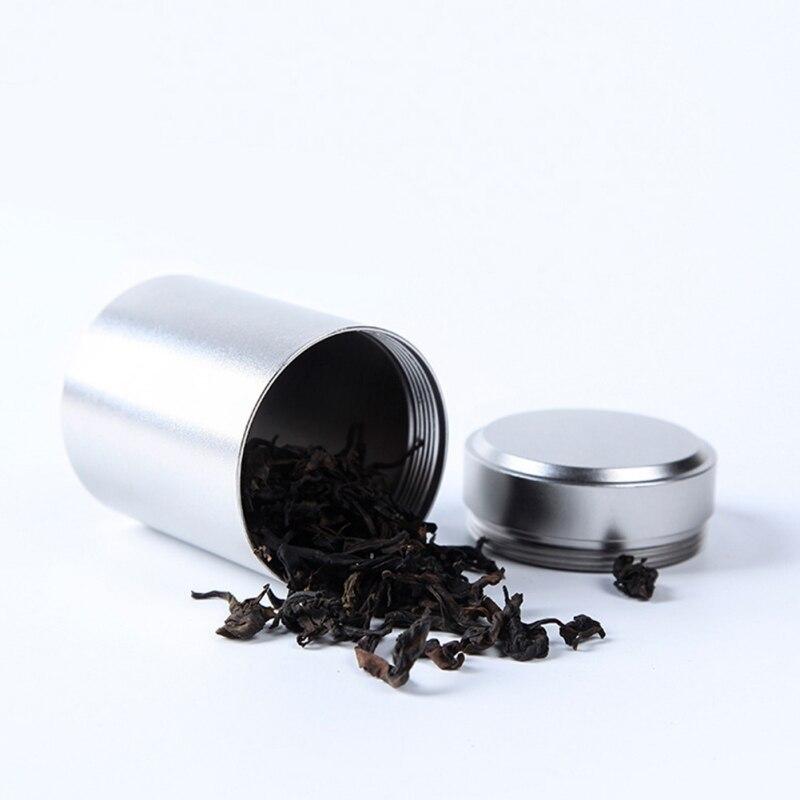 Tea Caddy Mini Aluminum Storage Boxes Sealed Coffee Powder Cans Tea Leaves Container Portable Travel Tea Caddy Organizer