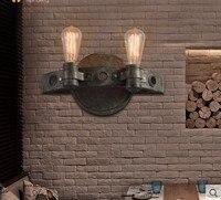Кованое железо стиль лофт промышленный настенный светильник Fxitures с 2 огнями для дома Vitnage трубы Эдисона бра Lampara Pared