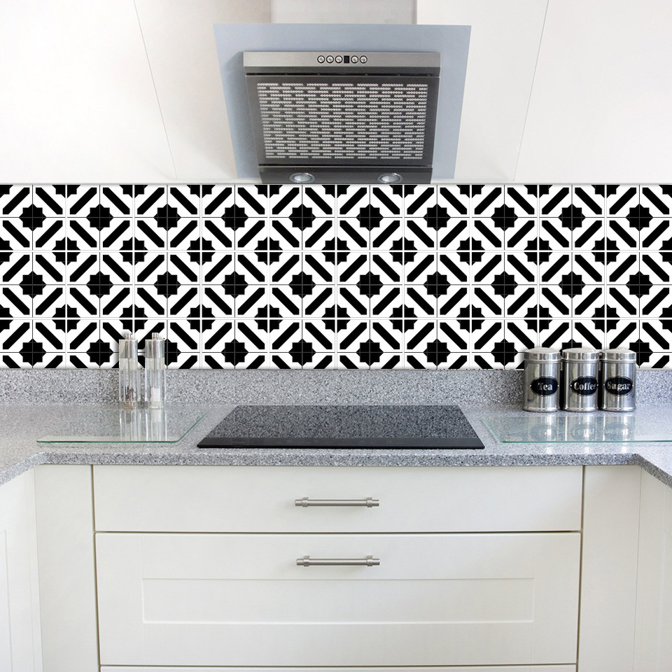 Funlife Waterproof Tile Wall Sticker Modern Design Black And White Self Adhesive Home Stickers For Kitchen Bathroom Tile Decor Wall Stickers Aliexpress