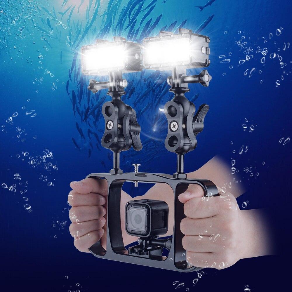 Gopro Accessories Underwater Dual Handheld Diving Grip Diving Flashlight 40M Waterproof Diving LED Video Light CRI95 for Gopro black friday gopro led flash light underwater 30m diving pov flash fill light high light for gopro 4 3 3 xiaomi yi accessories