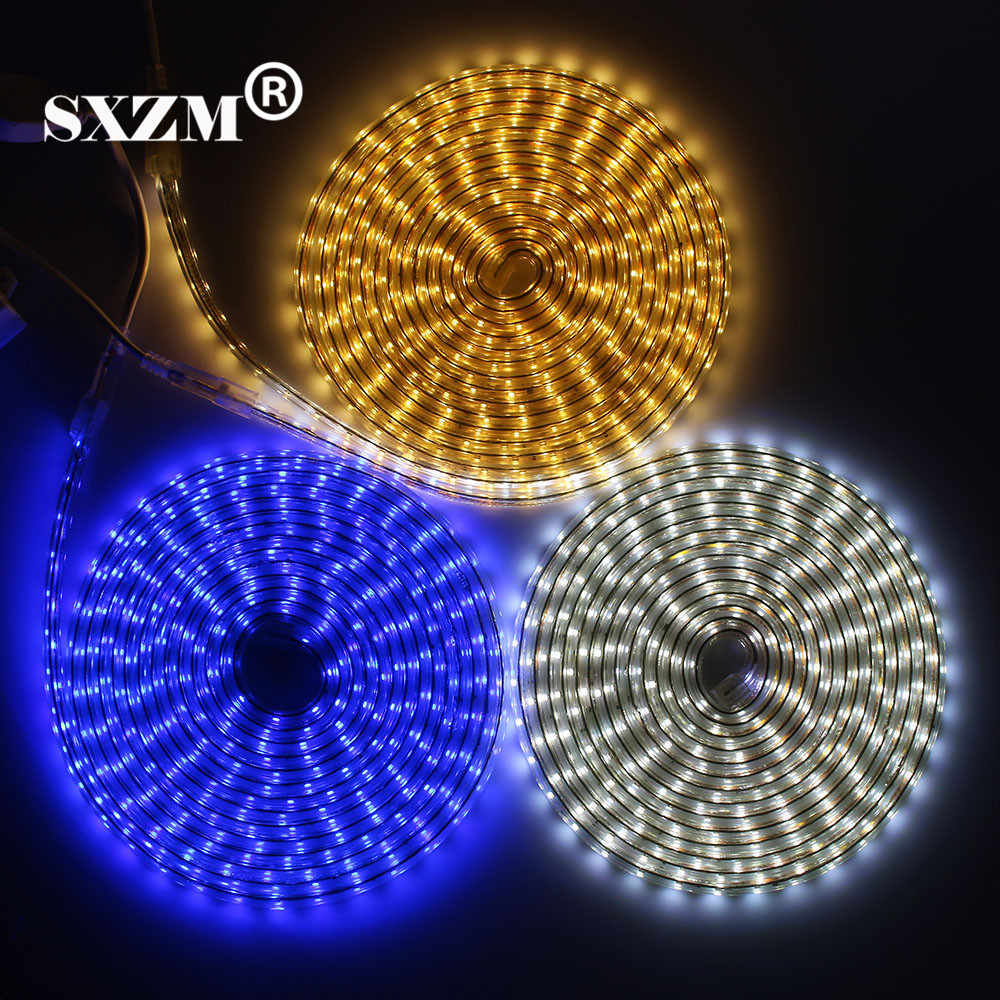 SXZM 220V led strip SMD5050 60led/M Waterproof led tape light with EU power plug White/Warm white/R/G/B outdoor light