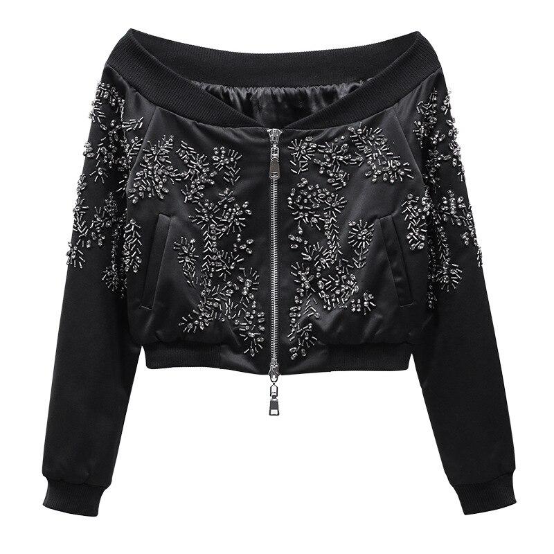 New   2017 autumn loaded word heavy nail bead jacket Baseball Jacket short zip coat