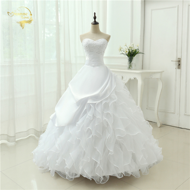 Classic Style Vestidos De Noiva A Line Robe De Mariage Strapless Applique Bridal  Gown Wedding Dress 2019 Chapel Train YN0120 4d22a876e1e5