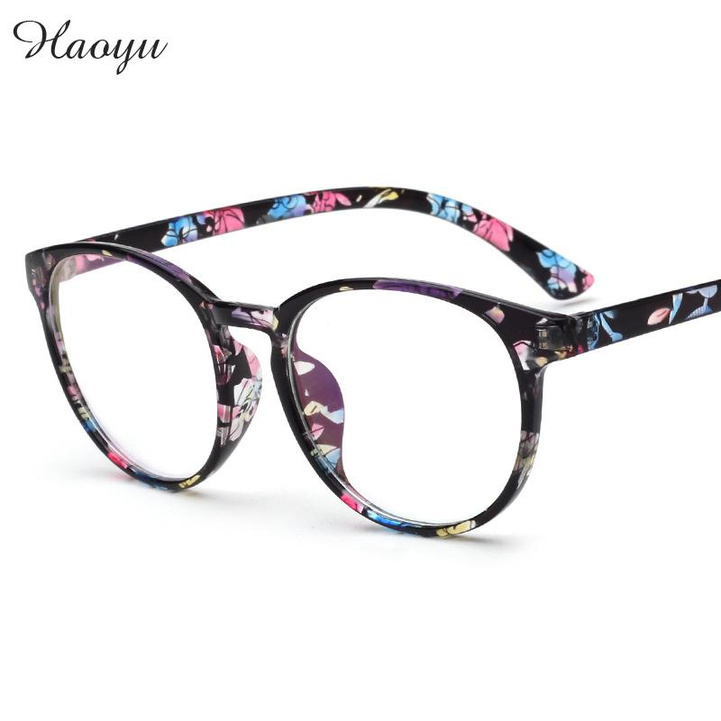 haoyu new round plastic art retro glasses frame unisex vogue miopia reading eyewear gass