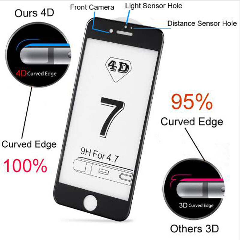 wcangcangli for iphone 7 screen protector full cover 4D New 3D tempered glass film for iPhone 7 8 7Plus edge full cover scree in Phone Screen Protectors from Cellphones Telecommunications