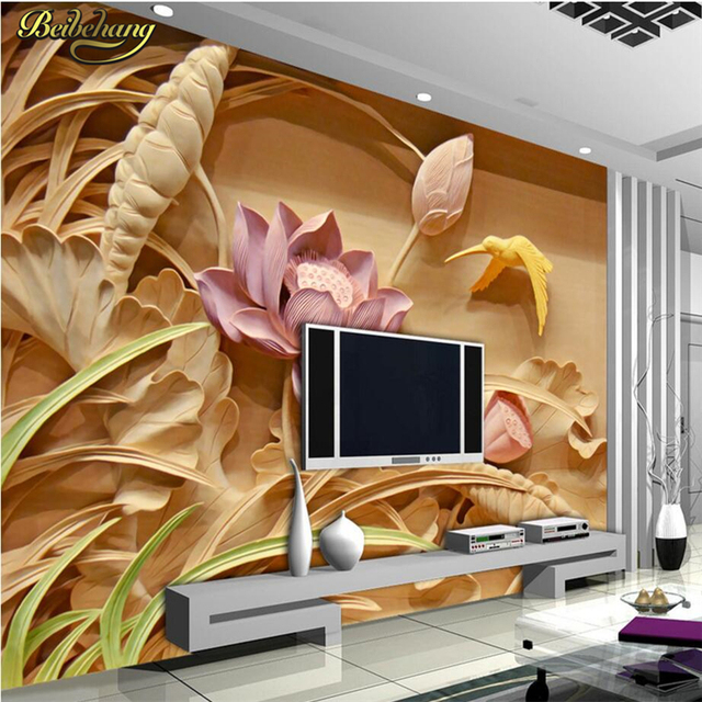 Beibehang Custom Wood Carving Lotus Flower For Wallpaper Living Room