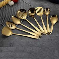 1PC Gold Titanium Stainless Steel Cooking Tools Spoon Shovel Cookware Kitchen Tools Cocina Utensilios Spatula Ladle Kitchenware