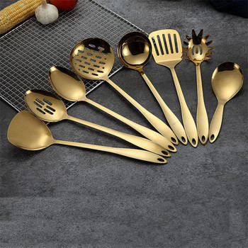 Utensilios de Cocina de titanio y acero inoxidable, cuchara, pala, Utensilios de Cocina, espátula, cucharón de Cocina, 1 ud.