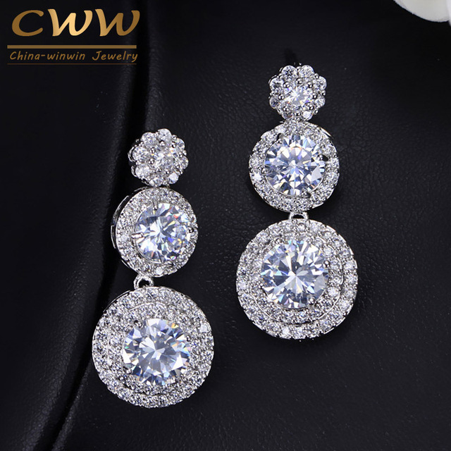 Cwwzircons Sparkling Cubic Zirconia Round Dangle Drop High Quality Cz Earrings Silver Color Women Wedding Party