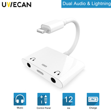 цены 3 in 1 Audio Splitter for lightning to dual 3.5mm Aux earphone Jack Charging Adapter for iPhone X/XS Max/XR/8 P/ P/8/7/iPad/iPod