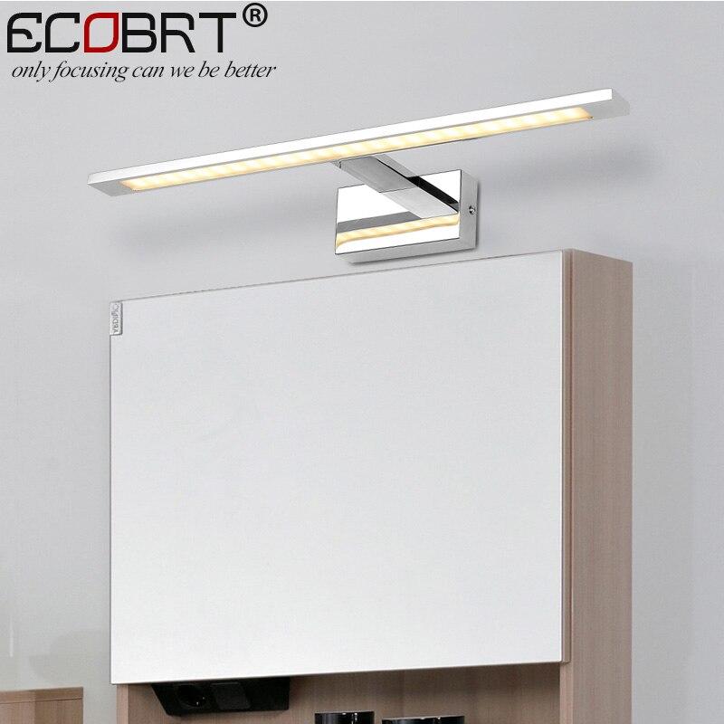 ECOBRT LED appliques D'intérieur Monté Par Surface en Lampes De Salle de bain Moderne Applique Miroir En Aluminium D'éclairage IP44 Mur Luminaria