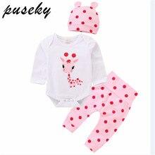 Puseky/комплект одежды для маленьких девочек, для новорожденных, с длинными рукавами, милый жираф, боди в горошек, розовые штаны, штаны, шапочка, осенняя одежда