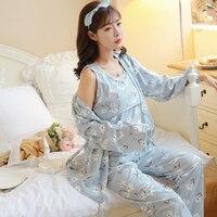 1279# 3 PCS/Set Cotton Maternity Nursing Sleepwear Breastfeeding Pajamas Clothes for Pregnant Women Spring Pregnancy Nightwear