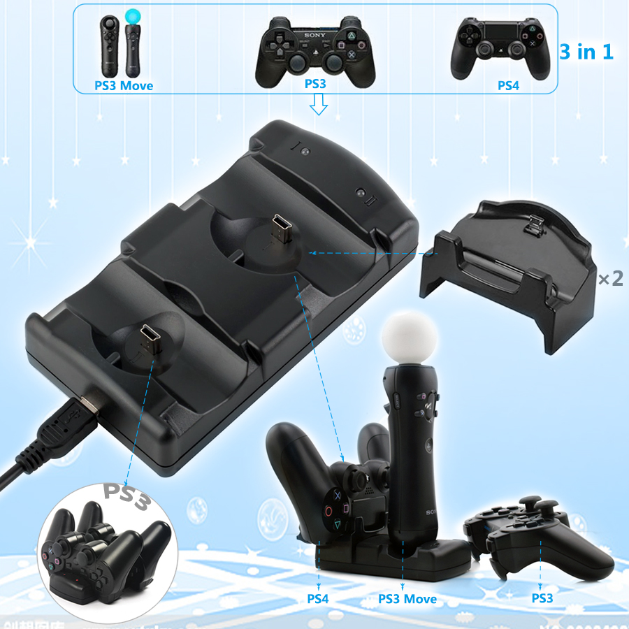 KYVG 5 In 1 USB Dual Charger Charging Dock Station for Sony Playstation 4 PS4/ Pro/ Slim/PS3/ PS3 Move Wireless Controller