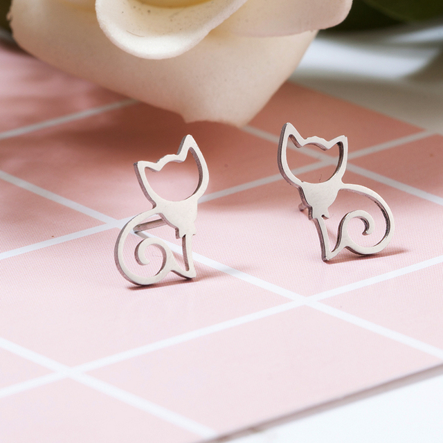 Minimalistic Cat Shaped Stud Earrings