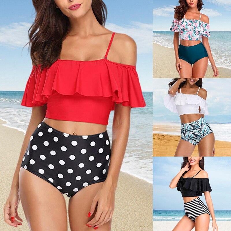 MoneRffi 2019 Ruffle Swimsuit Sexy Bikinis Set For Women Floral Printed 2PCS Swimwear Vintage Striped Bottom Swimwear
