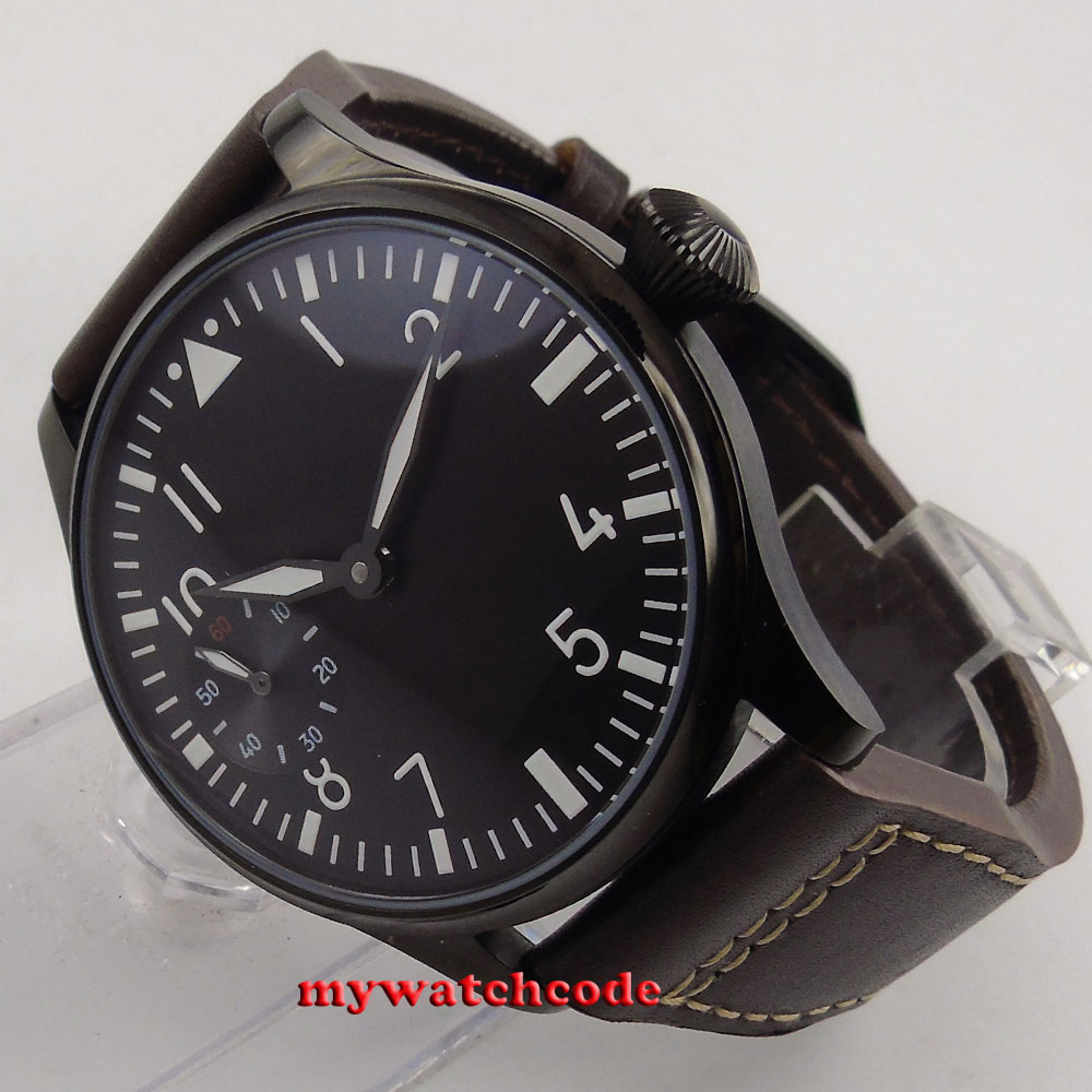 44mm parnis black dial luminous PVD 6497 hand winding movement mens watch 290B 44mm parnis rose gold case black dial blue luminous 6497 movement hand winding mens watch