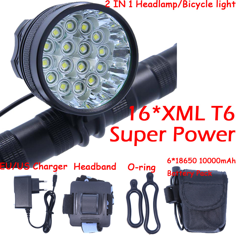 Powerful 2 in 1 20000LM 16 x XM-L T6 LED Rechargeable Bicycle Light Headlight Headlamp Head Lamp + 18650 Battery Pack + Charger 2 in 1 waterproof headlamp headlight xml t6 outdoor sports head lamp front bikelight& 4 18650 battery pack worked charger