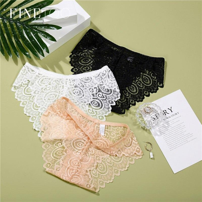 3Pcs/lot Lace   Panty   Set Sexy Transparent Floral   Panties   Fashion Briefs For Women Female Underwear Sets Trendy Ladies Lingerie