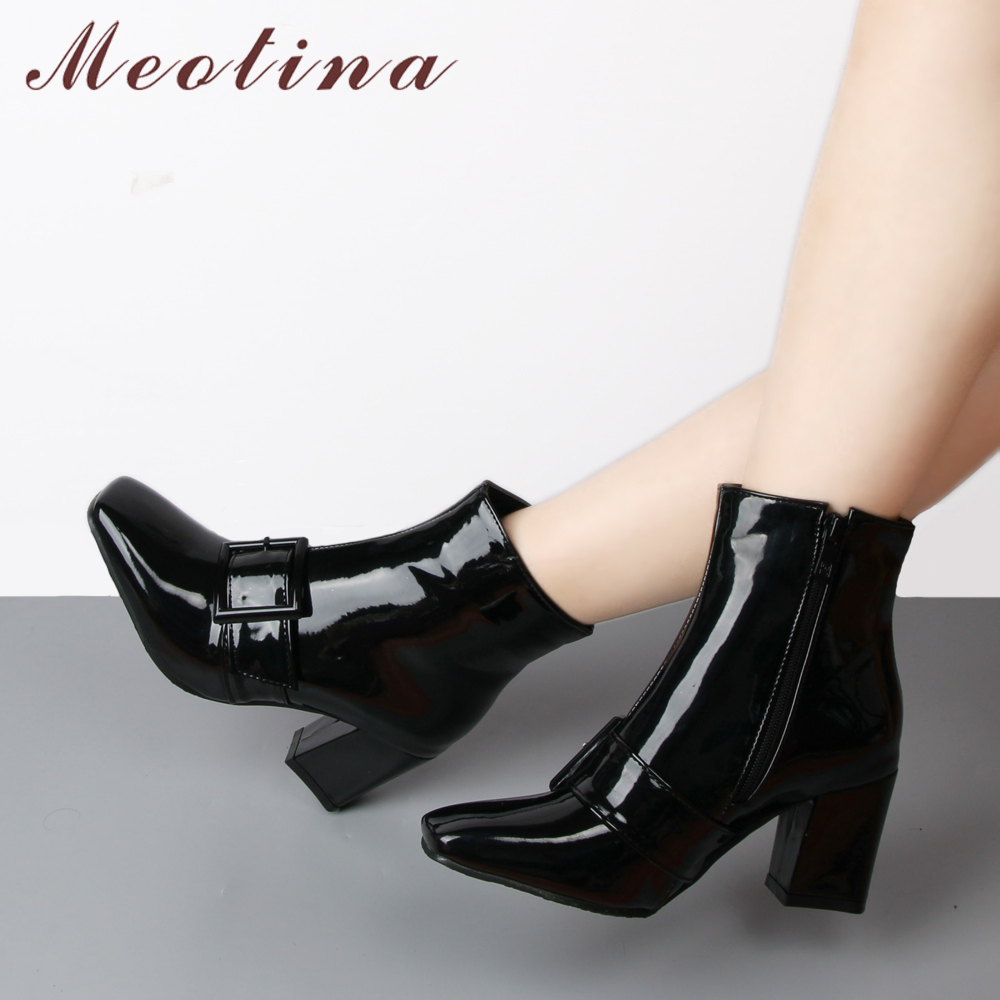 Meotina Winter Ankle Boots for Women Fur Buckle High Heels