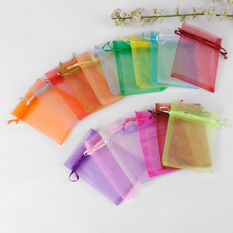 Wholesale 50 Pcs/lot 9x12cm Mixed Color Drawable Christmas Wedding Gift Bags Jewelry Packing Drawable Organza Bags&pouch