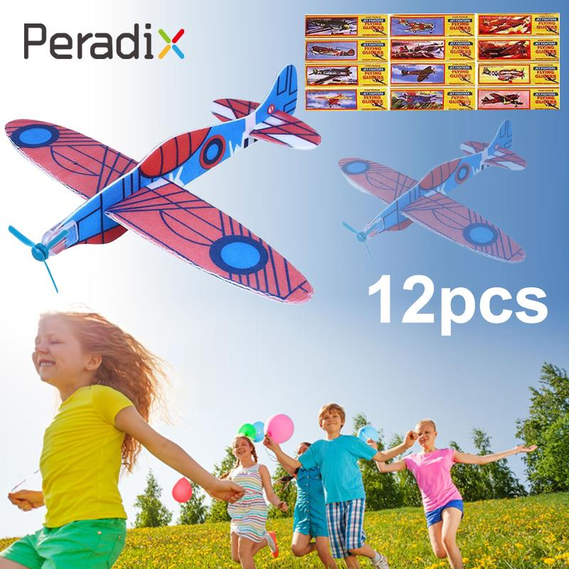 12Pcs DIY Hand Throw Glider Aircraft Model Child Outdoor Game Toys Foam Airplane