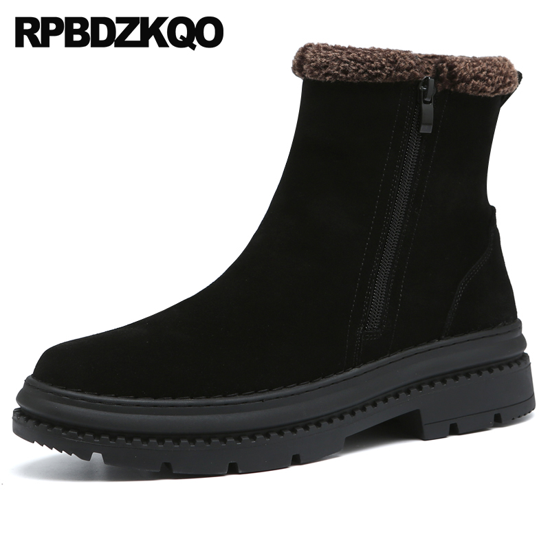 winter men slip on casual shoes fur short suede black booties flat ankle fall lace up trainer boots sneakers zipper comfortable stud high top flat booties metalic sneakers rock ankle shoes winter men boots with fur brown rivet punk black zipper trainer