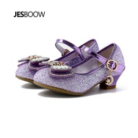 Girls High Heels Sequins Bow Sequins Rhinestones Ice Snow Princess Shoes Wedding Prom for Girls