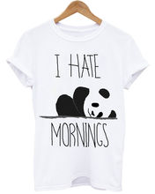 I HATE MORNINGS PANDA LAZY DAYS UNICORN PUGS BED TIME UNISEX WHITE T-SHIRT Print T-Shirt Mens Short Tee Shirt Homme Tshirt