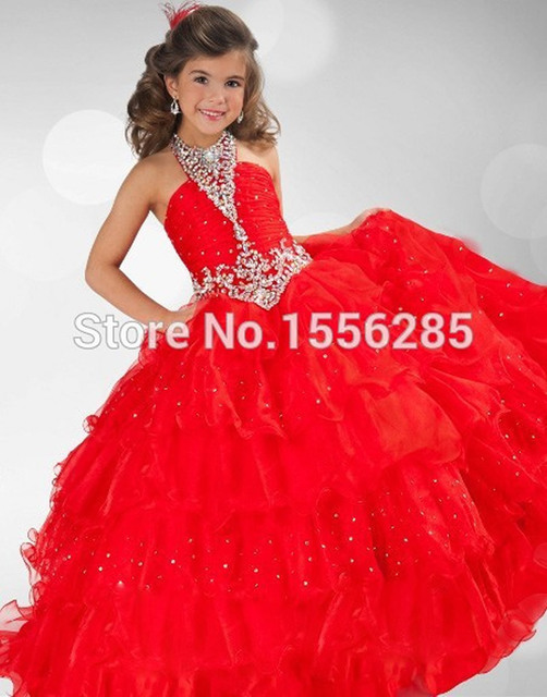 Latest Fashion Charming Sexy Organza Halter Ball Gown Layers ...