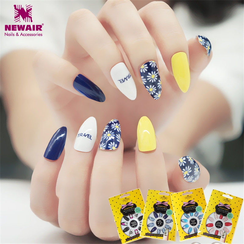 Aliexpress Whole Long Sti Nails With Glue Full Cover Flower False Acrylic Nail Tips Artificial Decorated Women Gift From Reliable
