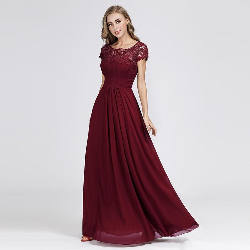 Plus Size Evening Dresses Long Appliques Pleated Chiffon Abendkleider Elegant Cheap EB23999 Open Back Lace Robe De Soiree Women