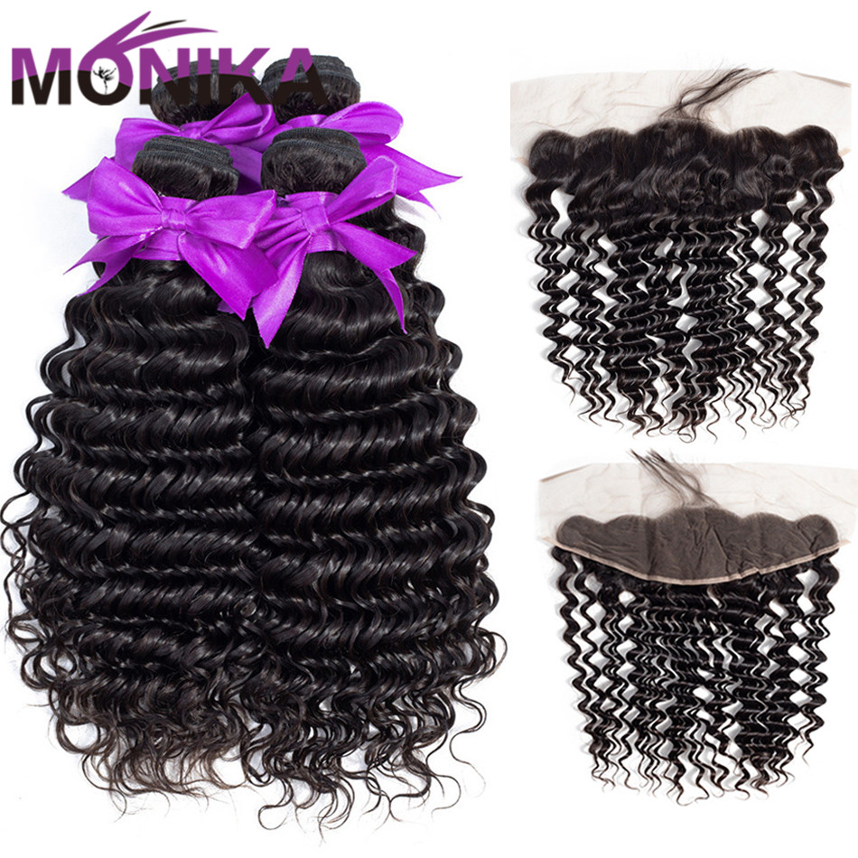 Monika Brazilian Deep Wave 4 3 Bundles With Frontal Non Remy Human Hair Frontal with Bundles