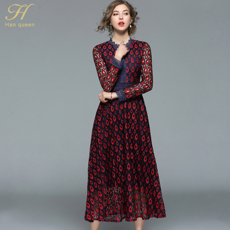 H Han Queen 2018 Spring Lace Maxi Dress Women Runway Vintage Female  Vestidos Hollow Out Slim Sexy Long Party Dresses d7ae8f8ad