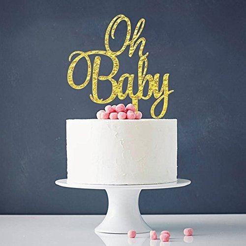 Oh Baby  Gold Cake Topper Baby Shower Birthday Party Decoration  Acrylic birthday cake