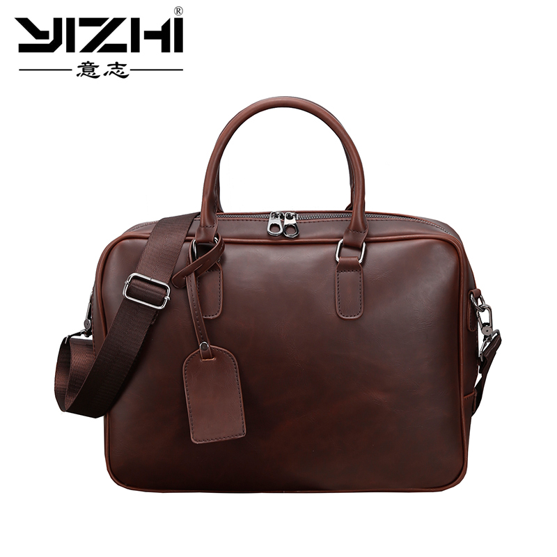 YIZHI New Brand Men's Large Briefcase Vintage Crazy Horse PU Leather Briefcase Business Shoulder Bags Laptop Briefcase Bag Brown