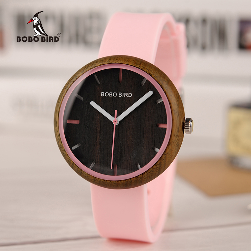 BOBO BIRD Wood Women Watches For Color Silicone Strap Wooden Writwatches Stylish Watch Ideal Gifts Relogio Masculino C-iR28