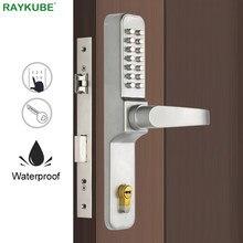RAYKUBE Passwort Digitale Code Türschloss Mechanische Code Wasserdichte Outdoor Verwenden Einsteckschloss Für Eingang Türen R-480A