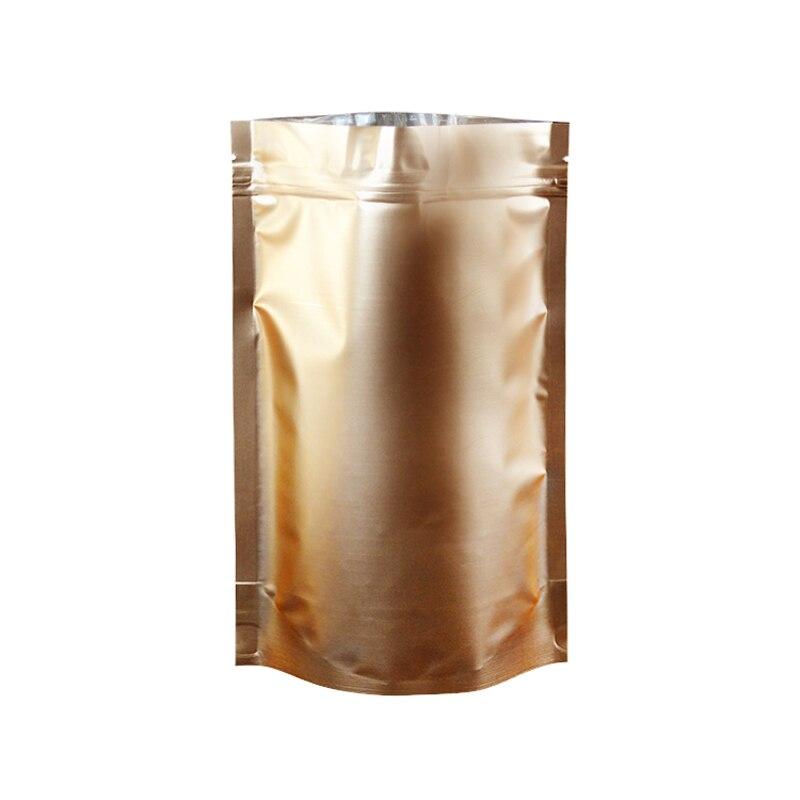 100pcs/lot 18cm*26cm+4cm*180Micron High Quality Gold Foil Resealable Stand Up Po