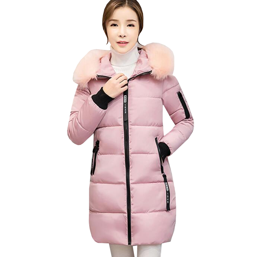 new winter women jacket down cotton padded coat large faux fur collar parka coats female plus size thick warm long Outwear SF435 2015 winter new korean female rabbit fur collar down jacket cotton padded jackets women short coat plus size long parks jy 933